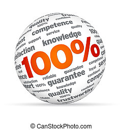 100% Business Sphere - Sphere with 100 percent on white...