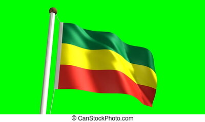 Ethiopia flag with green screen - 3D Ethiopia flag video...