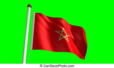 Morocco flag with green screen - 3D Morocco flag video...