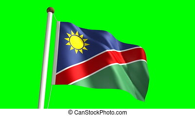 Namibia flag (with green screen) - Namibia flag video...
