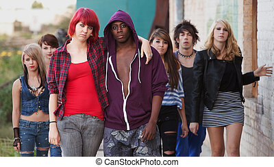 Young Punk Couple with Friends