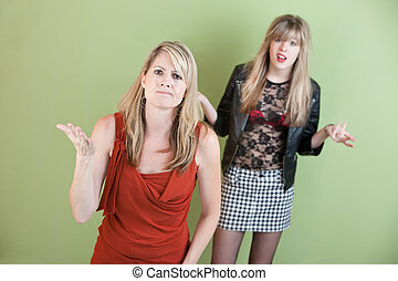 Angry Mom - Mom unhappy with daughter's provocative clothing