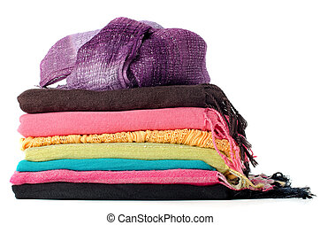 Pile of colorful scarves over white background.