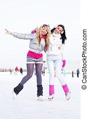 niñas, hielo, patinaje
