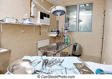 surgery room indoor - animal and pet surgery hospital room...