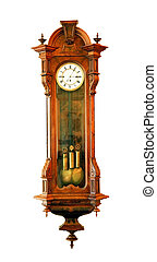 Antique clock  - Antique wooden clock isolated on white