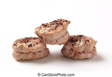 Pan roasted pork tenderloin medallions