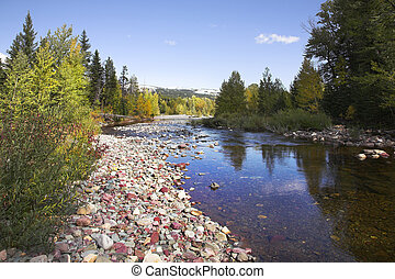 Slow stream - Shallow slow stream with a fine pebble in...