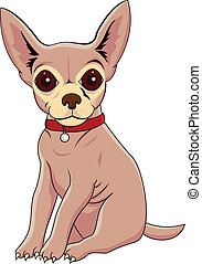 Chihuahua dog cartoon - Vector illustration of funny...