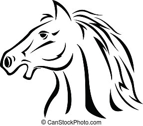 Horse head - Vector horse tattoo