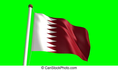Qatar flag (with green screen) - 3D Qatar flag video...