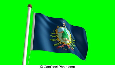 Vermont flag with green screen - 3D Vermont flag video...