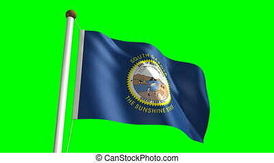 South Dakota flag with green scree - 3D South Dakota flag...