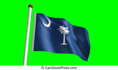 South Carolina flag (with green scr - 3D South Carolina flag...