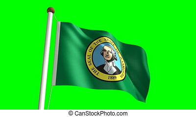 Washington flag (with green screen) - 3D Washington flag...
