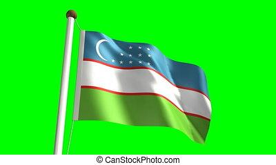 Uzbekistan flag with green screen - 3D Uzbekistan flag video...