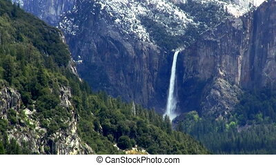 waterfall in the mountains zoom out