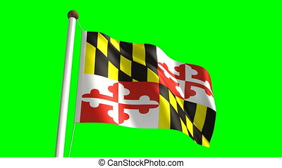 Maryland flag with green screen - 3D Maryland flag video...