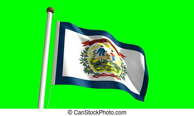 West Virginia flag (with green scre - 3D West Virginia flag...