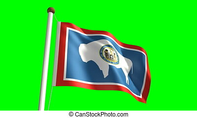 Wyoming flag with green screen - 3D Wyoming flag video...