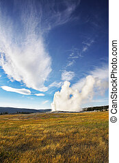 The most well-known of the world  Yellowstone national park