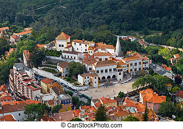 Sintra National Palace near Lisbon in Portugal, View from...