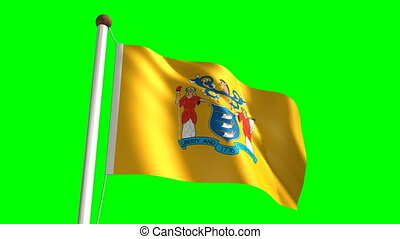 New Jersey flag (with green screen)