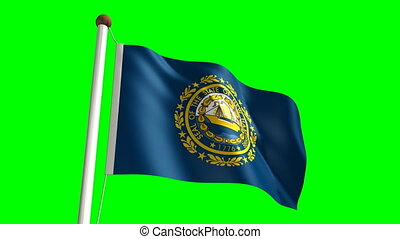 New Hampshire flag with green scre - 3D New Hampshire flag...