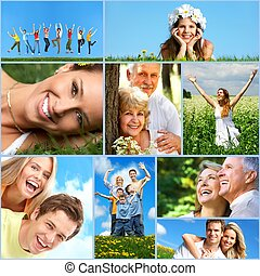 Happy people collage Healthy lifestyle