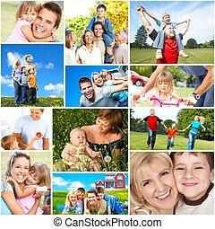 Happy family collage - Happy family collage background...
