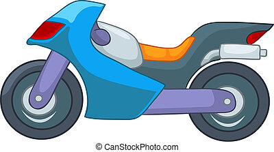 Cartoon Motorcycle Isolated on White Background. Vector...