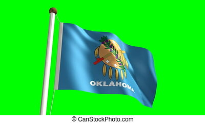 Oklahoma flag with green screen - 3D Oklahoma flag video...