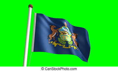 Pennsylvania flag with green scree - 3D Pennsylvania flag...