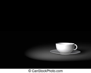 White ceramic cup of coffee on a dark background of night