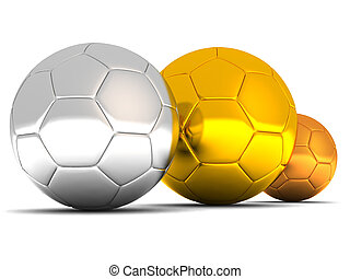 silver, gold and bronze soccer balls on white background