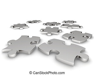 Metal components of a puzzle on a white background