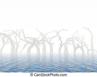 Dead trees in surroundings water as a result of flood on a...