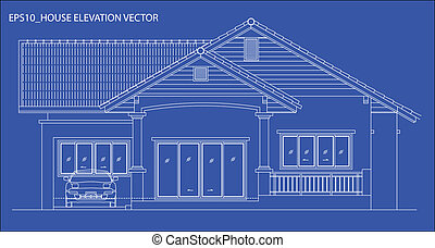 elevation house vector - elevation house drawing line on...