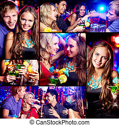 Friends at party - Collage of happy friends having fun at...
