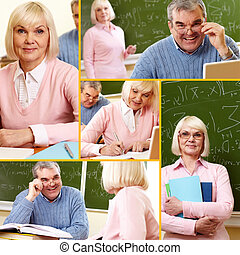Mature students - Collage of mature man and woman during...