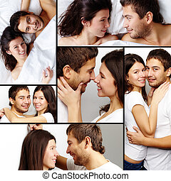 Happy couple - Collage of happy amorous couple together