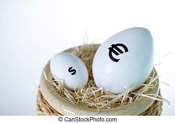 Superiority - Image of big white egg with euro sign and...