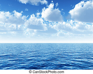 cloudy blue sky leaving for horizon above a blue surface of...
