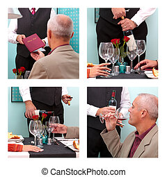 Ordering wine in a restaurant - Photo montage showing a...
