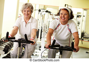 Fitness for seniors - Portrait of two senior women on...