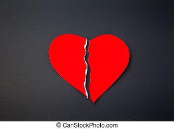 vermelho, grunge, coração partido