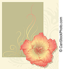Vector greeting card - Vector illustration with flower for...