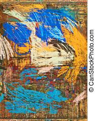 gouache - abstract gouache on wood