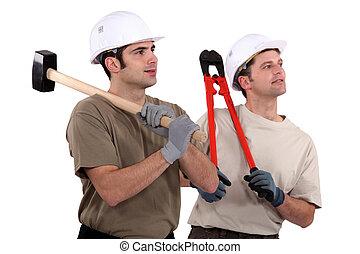 dos, manual, trabajadores, se paró, juntos