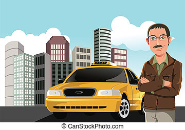 Taxi driver - A vector illustration of a taxi driver